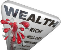 Wealth Word Thermometer Rich Financial Security. The word Wealth on a thermometer measuring your financial security and personal finances of money savings for Stock Photos