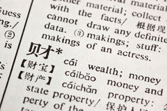 Wealth written in Chinese stock photo