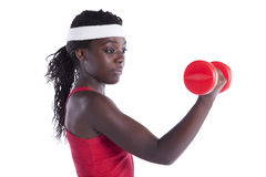 Wealthy african woman exercising Stock Image