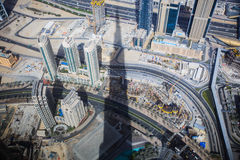 Wealthy Buildings From Above with The Burj Khalifa Shadow, Dubai Royalty Free Stock Photo