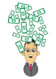 Wealthy businessman illustration. Illustration graphic of a wealthy businessman with money falling down Stock Photos