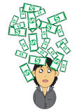 Wealthy businesswoman illustration. Illustration graphic of a wealthy businesswoman with money falling down Stock Image