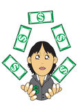 Wealthy businesswoman illustration. Illustration graphic of a wealthy businesswoman juggling money Stock Photos