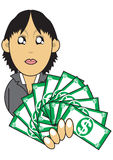 Wealthy businesswoman illustration. Illustration graphic of a wealthy businesswoman showing off money Stock Images