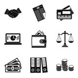 Wealthy financiers icons set, simple style. Wealthy financiers icons set. Simple set of 9 wealthy financiers vector icons for web isolated on white background Royalty Free Stock Photo