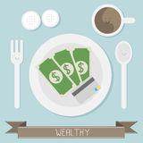 Wealthy food. With coffee vector Stock Photos