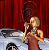 Wealthy Girl with sports car smoking cigar Royalty Free Stock Images
