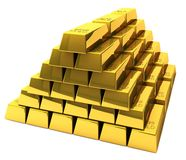 Bunch of gold bars. A wealthy man is sitting on a pile of gold bars Stock Photo