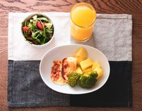 Wealthy meal with orange juice royalty free stock images