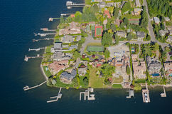 Wealthy Neighborhood Peninsula. Aerial perspective of rich homes by lake Royalty Free Stock Photos