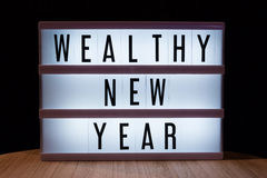 Wealthy new year. `Wealthy new year` text in lightbox royalty free illustration