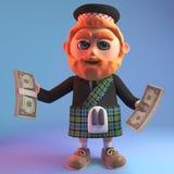Wealthy Scottish man in tradtional kilt holding wads of US dollar bills, 3d illustration. Render vector illustration