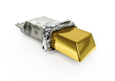 Wealthy snack. 3D render of gold candy bar in hundred dollar wrapper, white background Royalty Free Stock Image