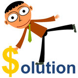 A wealthy solution. A solution word with a business man using a dollar sign to replace the letter s Royalty Free Stock Photo