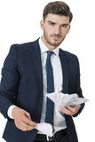 Wealthy successful businessman burning money Royalty Free Stock Photo