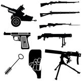 Weapon 1. Set of isolated weapon silhouettes Royalty Free Stock Photo