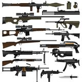 Weapon. Layered vector illustration of various weapons with white background stock illustration