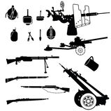 Weapon 2. Isolated weapon and artillery silhouettes set Royalty Free Stock Image