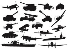 Weapon. WW2 military silhouettes set. Vector Royalty Free Stock Images
