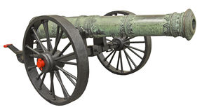 Weapon. Ancient Hungarian cannon isolated over white with clipping path Stock Image