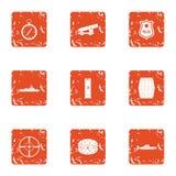 Weapon aim icons set, grunge style. Weapon aim icons set. Grunge set of 9 weapon aim vector icons for web isolated on white background Stock Photos