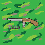 Weapon armed shotgun and bullets Royalty Free Stock Image