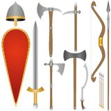 Weapon and armor of Old Russian soldiers Royalty Free Stock Photo