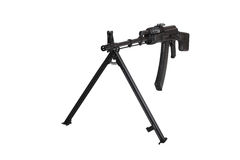 Weapon - Assault rifle on a bipod. Isolated. Weapon - A close up black Assault rifle on a bipod on a white background. It is isolated, the worker of paths is Royalty Free Stock Images