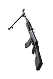 Weapon - Assault rifle on a bipod. Isolated. Weapon - A close up black Assault rifle on a bipod on a white background. It is isolated, the worker of paths is Royalty Free Stock Image