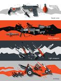 Weapon Banners Set. Weapon horizontal banners set with small arms heavy light artillery elements isolated vector illustration Royalty Free Stock Images