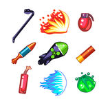 Weapon and Bomb Icons Vector Illustration Set Stock Image