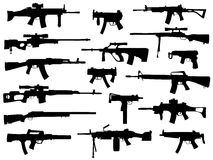 Weapon collection, automatic guns. Set of weapons, monochromatic automatic guns royalty free illustration