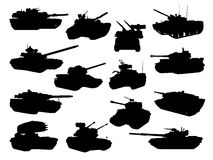 Weapon collection, battle tanks. Vector collection of battle tanks Stock Image