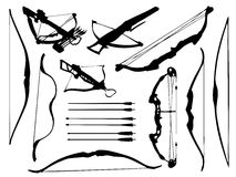 Weapon collection, bow, crossbow and arrows. Set of bows and crossbows in stock illustration