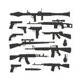Weapon collection different military automatic gun shot machines silhouette police bullet vector. Silhouette army weapons and handgun army silhouette weapons Stock Photo
