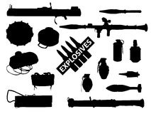 Weapon collection, explosives. Set of explosives and weapons in royalty free illustration