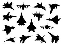 Weapon collection, fighter jets. Vector collection of fighter jets stock illustration