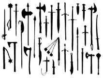 Weapon collection, medieval weapons. Set of weapons, medieval cold weapons Royalty Free Stock Photos