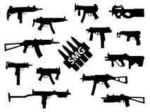 Weapon collection, submachine guns. Set of automatic weapons in Stock Photography