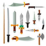 Weapon collection swords, knifes, axe, spear with gold handles cartoon vector illustration. Royalty Free Stock Photography