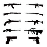 Weapon collections. Black in white background Royalty Free Stock Photography