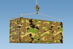 Weapon Delivery concept. Military container hanging on the crane. Hook against blue sky, 3d Royalty Free Stock Photos