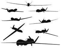 Weapon. Drones set. Drone vector silhouettes collection. EPS 8 Stock Photography