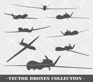 Weapon. Drones set. Drone vector silhouettes collection. EPS 8 Royalty Free Stock Images