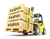 Weapon export concept. With military crates on the pallet Royalty Free Stock Photos