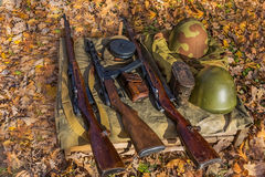 Weapon. Firearms among the yellow leaves Stock Photos