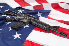 Weapon And Flag Royalty Free Stock Photos