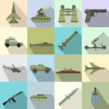 16 weapon flat icons set. Color illustrations with military truck helicopter and ship Vector Illustration