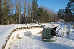 The weapon of the Great Patriotic War period on the artillery position. Fort Krasnaya Gorka, Leningrad region Stock Image