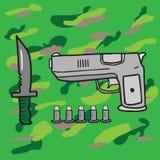 Weapon hand gun pistol and knife Stock Photo